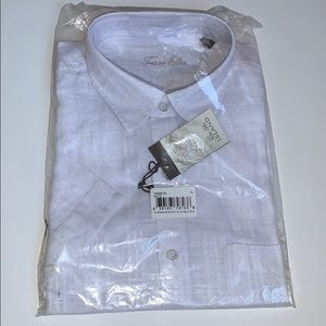 Tasso Elba Men's XL 17-17 1/2 SS White Linen Shirt